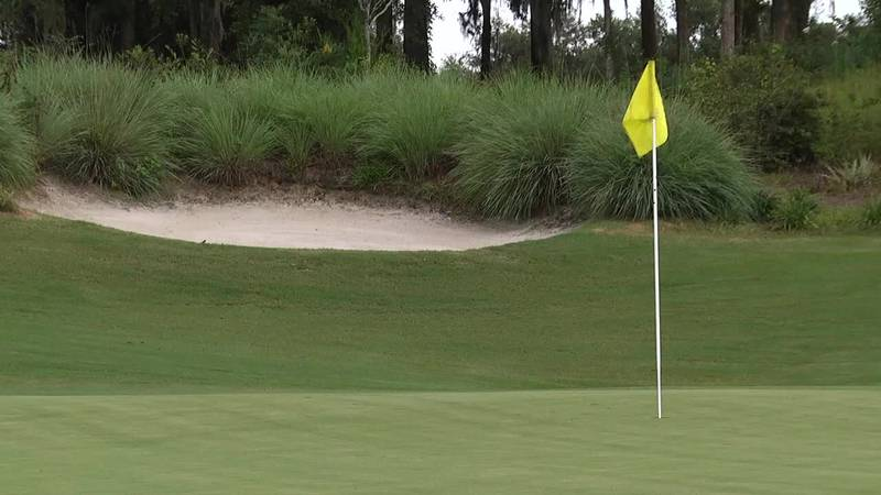 """The green of the eighth hole, nicknamed the """"Pit""""."""