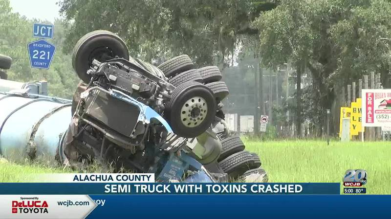 Crashed semi-truck off of US 301 in Bradford County
