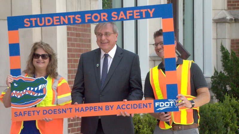 University of Florida promoting pedestrian safety through traffic campaign