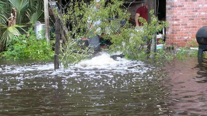 Many Dixie County residents are working to save their properties as floodwaters continue to...
