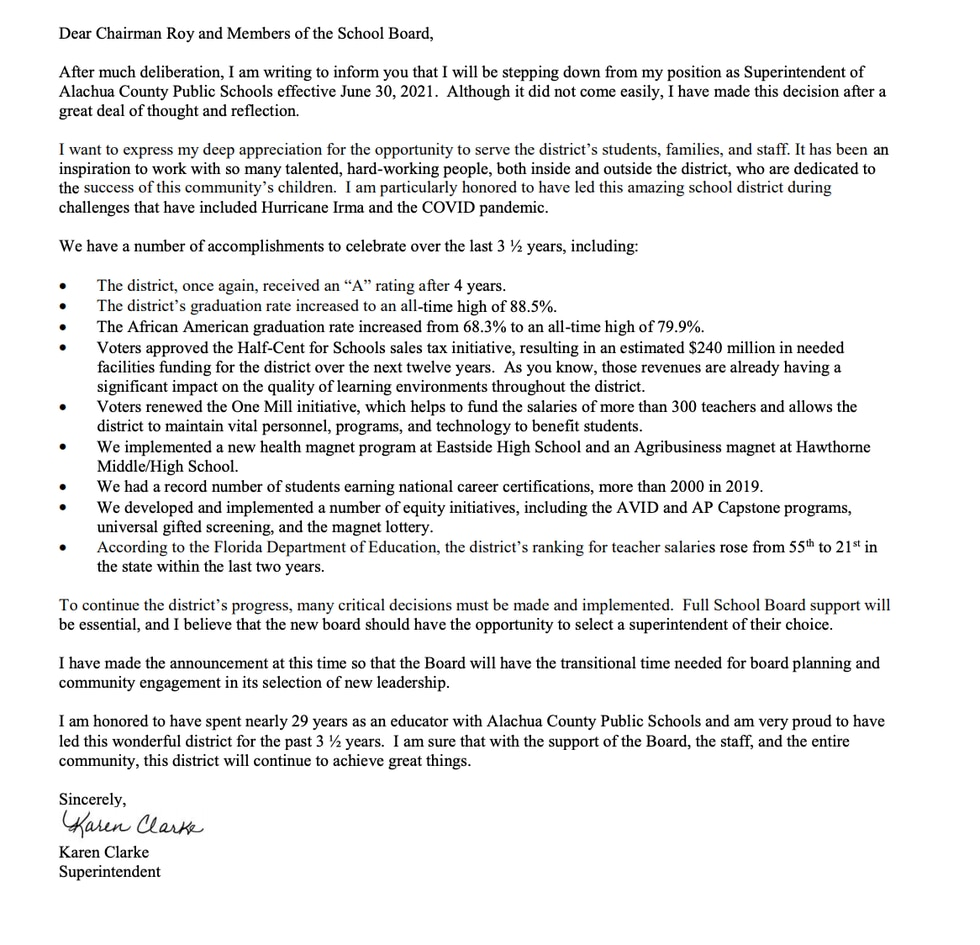 Karen Clarke's letter to board members saying she is stepping down as Alachua County Public...