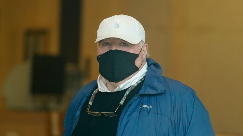 Michael Skakel arrives to a courthouse in Stamford, Conn., Friday, Oct. 30, 2020.