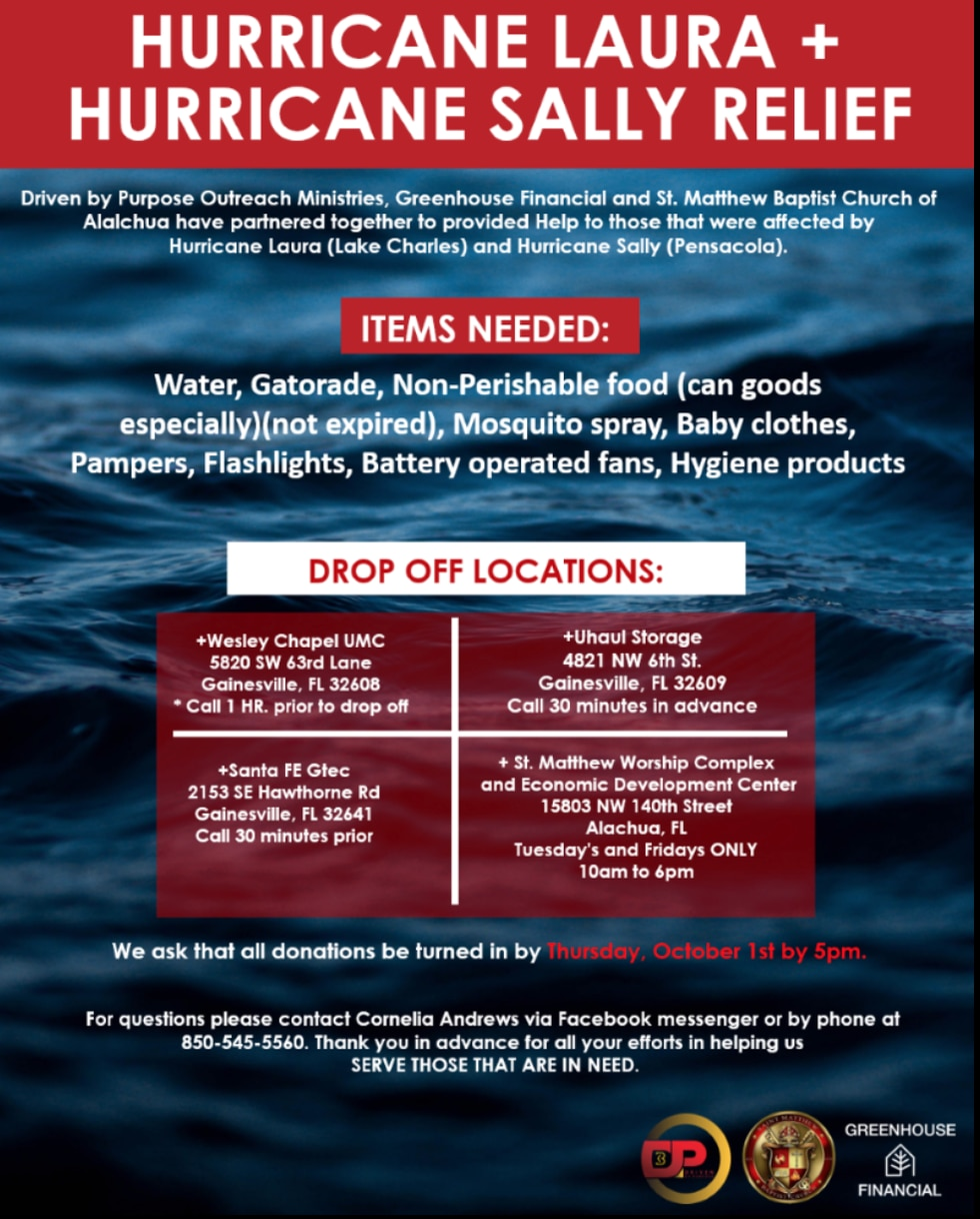 All you need to know before dropping off the needed items.
