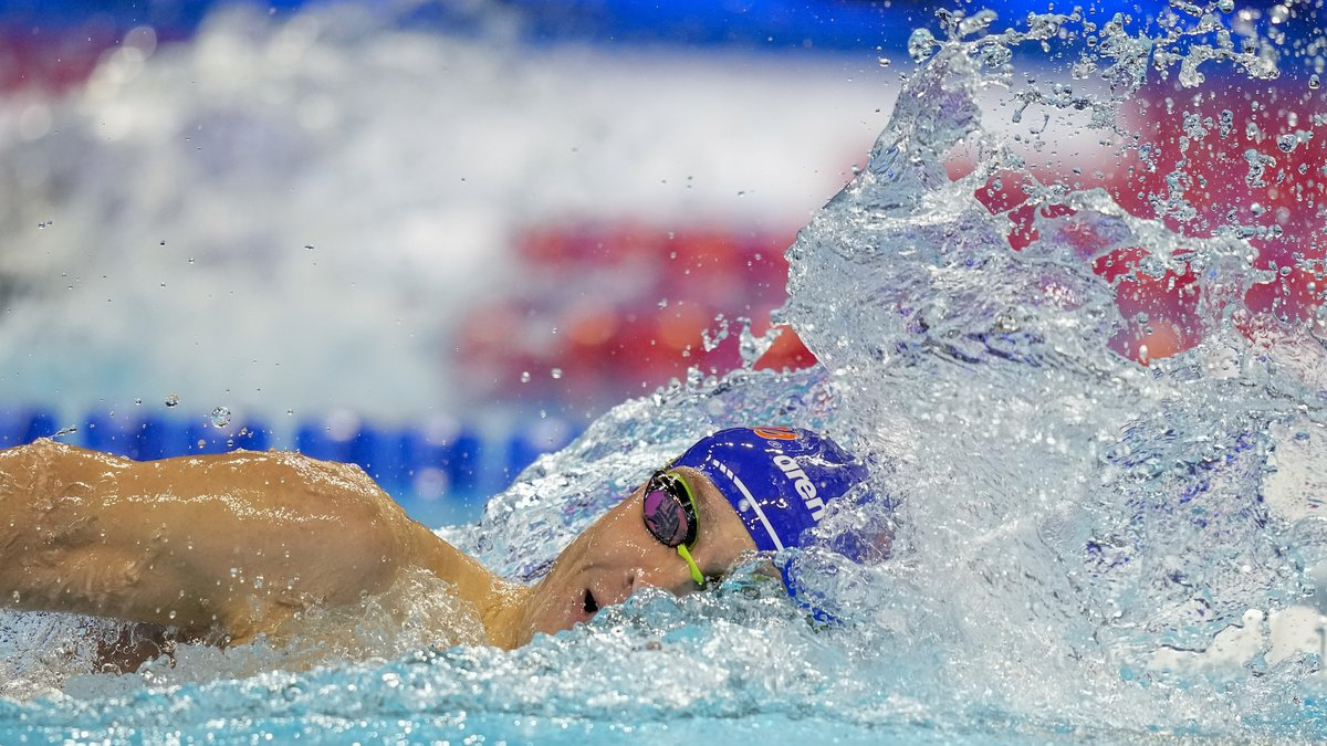 Bobby Finke participates in the men's 800 freestyle during wave 2 of the U.S. Olympic Swim...