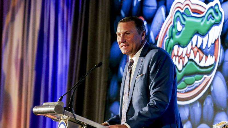 Florida head coach Dan Mullen speaks to reporters during the NCAA college football Southeastern...