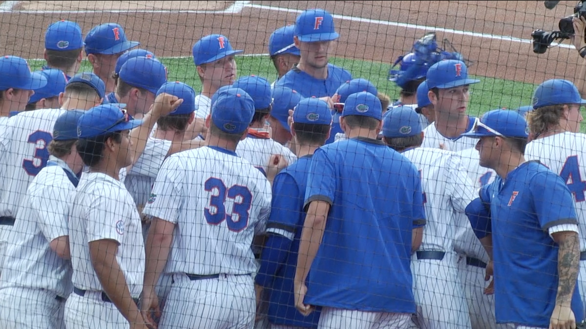 Florida Gators Baseball huddles up before the team takes the field against Tennessee.