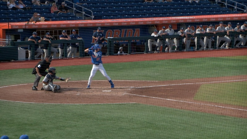 Deric Fabian stands in the batters box at Florida Ballpark as the Gators take on Georgia...