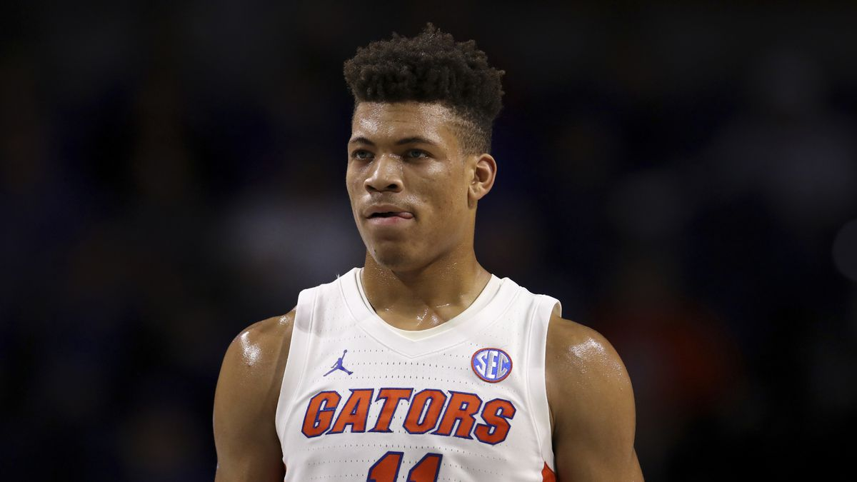 FILE - In this Nov. 29, 2019 file photo, Florida forward Keyontae Johnson (11) looks on during...
