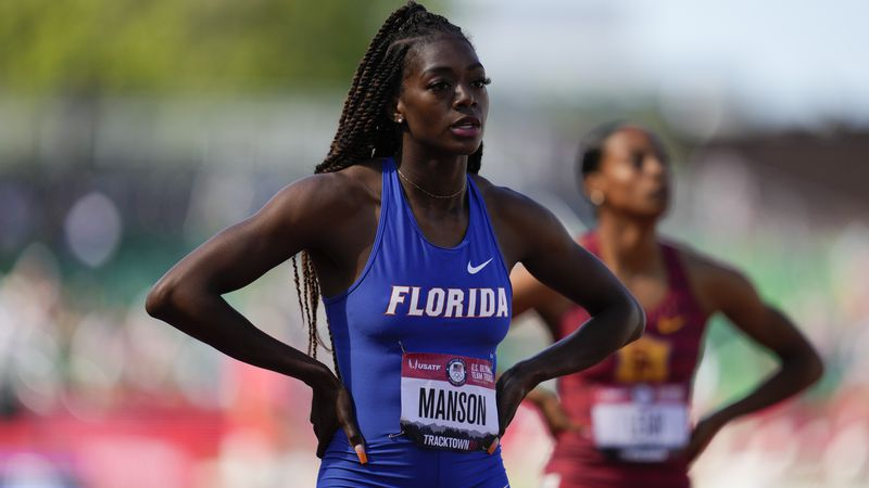Taylor Manson reacts after the women's 400-meter run at the U.S. Olympic Track and Field Trials...