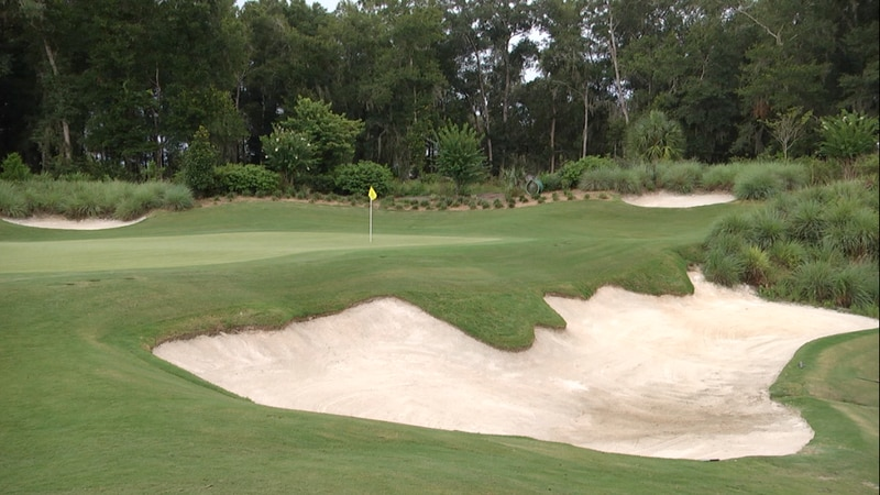 """""""The Pit"""" guards the entire right side of the 8th green at Juliette Falls."""