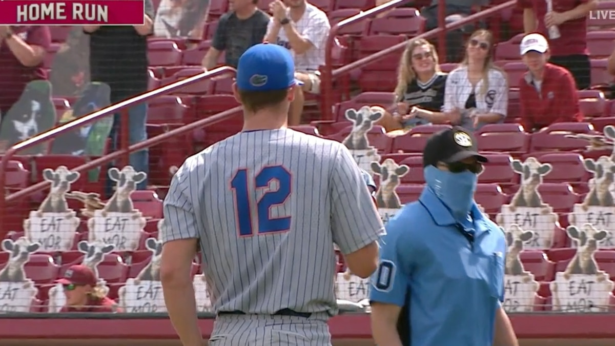 Hunter Barco looks to the stands after giving up a home run against South Carolina on Sunday.
