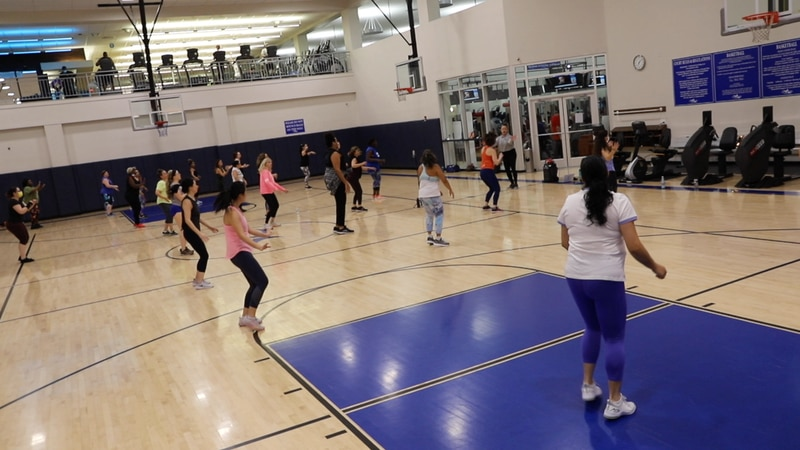 GHF Zumba Class in the basketball court at the Main Center.